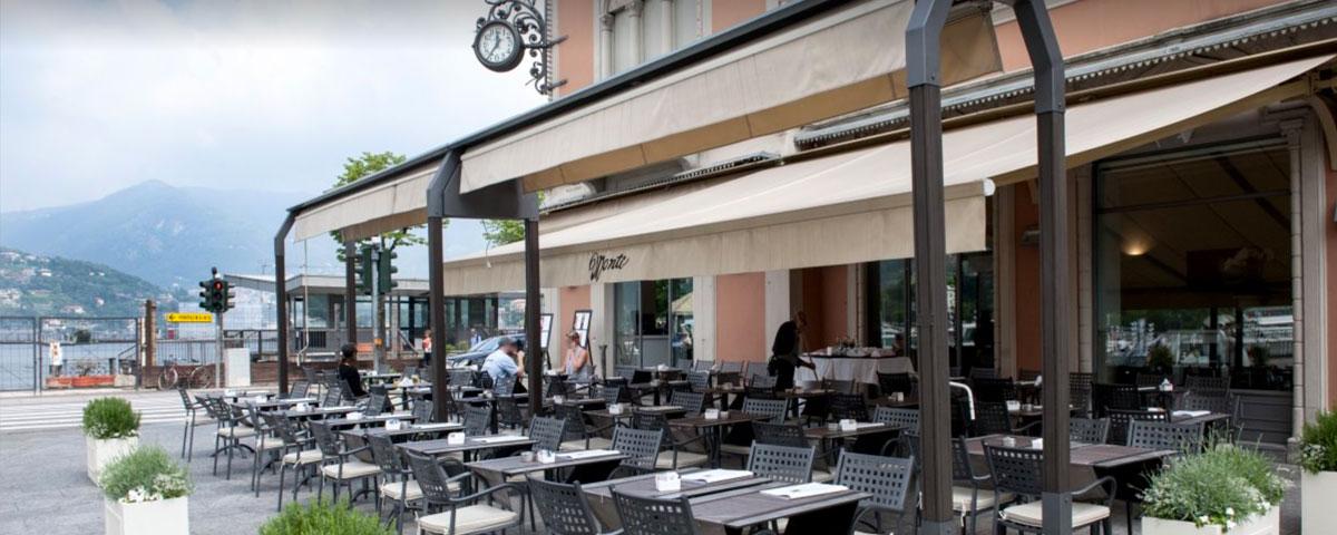 Coffee Shop in Como, Monti, terrace on the lake